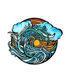 sunset beach waves tattoo