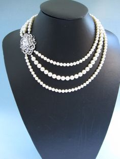 Bridal necklace bridal pearl necklace swarovski pearl by bridal101, $85.00