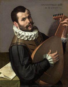 PASSEROTTI, Bartolomeo  [Italian Mannerist Painter, 1529-1592]  Portrait of a Man Playing a Lute1576