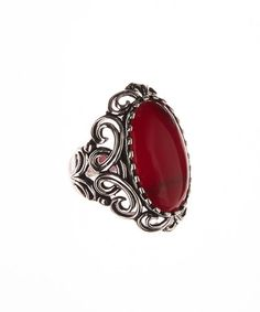 Look what I found on #zulily! Red & Sterling Silver Filigree Ring #zulilyfinds