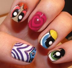 Give in to these adorably googly-eyed Powerpuff Girls nails (we hear it's on its way back to TV!) #nailart #powerpuffgirls #nails