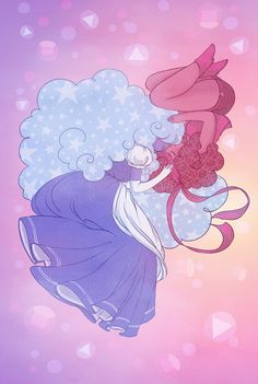 Our two favorite gems who transcend love as we know it! Ruby and Sapphire from Steven Universe are entwined in a gradient, pastel sky. Original fan art of Ruby and Sapphire from Steven Universe by Alu