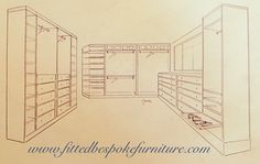 Draft for walk in wardrobe closet. Shelving Shoe racks hanging space Drawers Hand made and hand painted.