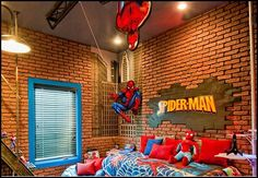 Have a hanging Spiderman with a shooting web on ceiling or wall