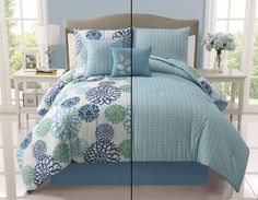 With Love Home Decor -  5pc Luxury Cameron Blue/ White/ Green Reversible Comforter Set