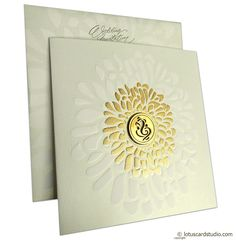 The card is a treat to eyes with golden shine that shimmers in light. Card has die casting Ganesh along with embossed flower design. Envelope is of same theme as card. Inserts are having different color flowers on corner along with wedding symbols. Scroll Wedding Invitations, Indian Wedding Invitation Cards, Hindu Wedding Cards, Wedding Invitation Card Design, Wedding Cards Handmade, Vintage Wedding Invitations, Rustic Invitations, Hindu Weddings, Invitation Wording