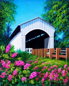 """Covered Bridge with Bright Flowers""  by Yvonne Hazelton"