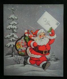 Vtg SANTA w Peek Thru Window Bag of Gifts Mid Century CHRISTMAS Greeting CARD