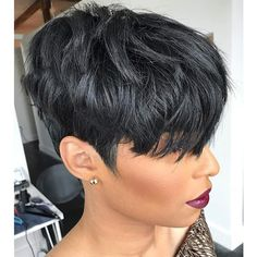 Buy VRZ 100% Human Hair Short Wigs Pixie Cut Wigs with Bangs Short Black Layered Wavy Wigs for Women at Wish - Shopping Made Fun Curly Pixie Cuts, Pixie Cut With Bangs, Pixie Cut Wig, Short Pixie Haircuts, Wigs With Bangs, Pixie Hairstyles, Black Pixie Haircut, Black Pixie Cut, 27 Piece Hairstyles