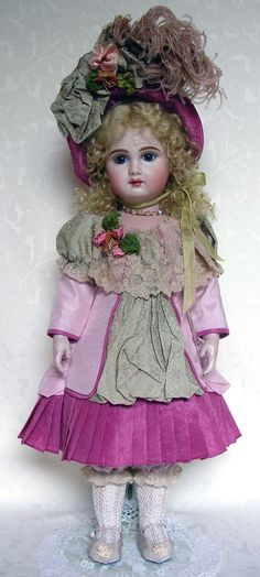 Tete Jumeau Bebe with full lips by Emily Hart dressed in pink silk taffeta