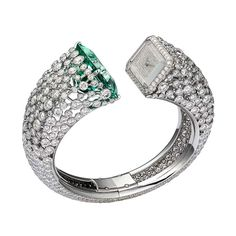 Cartier watch - unique watch set with diamonds and green beryl