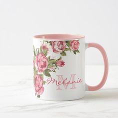 Vintage blush pink roses Peonies name monogram Two-Tone Coffee Mug - girly gift gifts ideas cyo diy special unique Pink Peonies, Pink Roses, Pink Flowers, Summer Flowers, Roses Roses, Monogram Coffee Mug, Coffee Mugs, Pink Flower Names, Roses Photography