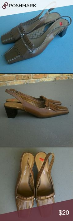 New Etienne Aigner slingback heels Floor demo Aigner slingback brown tassel leather uppers 2 inch heel and size 8 & a half medium.  NOTE... Note price tag has pulled off small portion of vinyl on foot bed at heel Etienne Aigner Shoes Heels