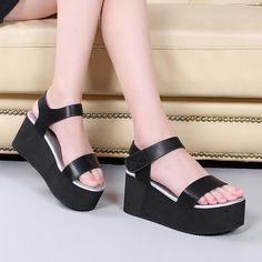2016夏季新款松糕厚底防水台女鞋中跟坡跟罗马女凉鞋大小码学生鞋