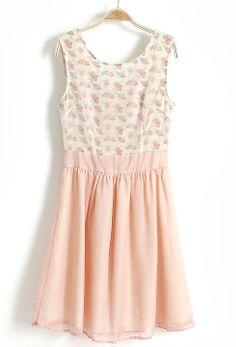 Light Pink + Floral Chiffon Dress// JENNA