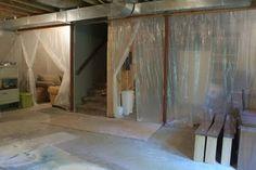 Basement overhaul part 4; 2ml plastic sheets for 'curtain dividers'