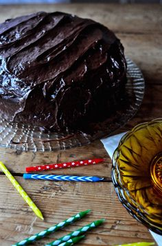 Chocolate spicy cake - Τούρτα σοκολάτας με μπαχαρικά My Birthday Cake, Spice Cake, Frosting, Spices, Chocolate, My Favorite Things, Sweet, Desserts, Food