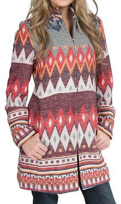 Wired Heart® Women's Multicolored Tribal Zipper Front Jacket