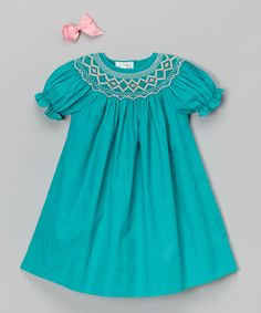 Rosalina Teal Bishop Dress & Hair Bow - Infant & Toddler on #zulily today!