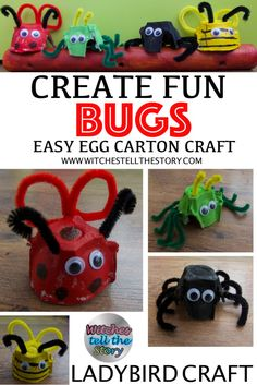 Egg Carton Ladybird Craft | Fun Bugs - This is the third Fun Bug created showing you how to make. An easy peasy craft for the little ones to do using an egg carton box, wiggly eyes and pipe cleaners. This is a FUN FUN Craft loved by all the kids. We love mini beasts!!
