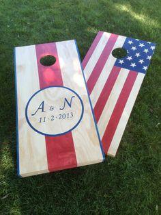 Wedding Cornhole Game by ColoradoJoe's American Flag (Your Monogram Here)