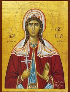 Orthodox icon of Saint Lucy of Syracuse. Byzantine Art, Byzantine Icons, Santa Lucia Day, Famous Freemasons, Sainte Lucie, Art Icon, Patron Saints, Orthodox Icons, Mother Mary