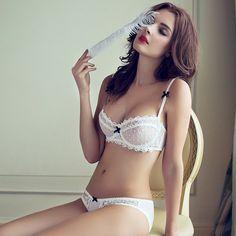 Mode zomer sexy kant wit ultradunne beha ademend gaas v-hals vrouwen push up ondergoed set