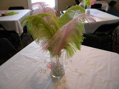 Feather centerpieces are awesome.