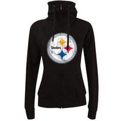 Pittsburgh Steelers New Era Women's Athletic Funnel Full-Zip Hoodie - Black