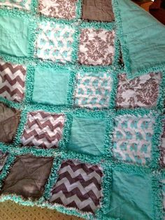 Teal and Gray Elephants and Chevrons Rag Quilt
