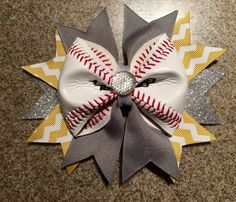 Baseball Cheer Hair Bow Made From Real Baseballs by CharacterBowtiqueTH on Etsy https://www.etsy.com/listing/241384609/baseball-cheer-hair-bow-made-from-real