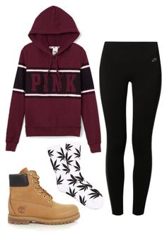 """fall"" by maddiehow ❤ liked on Polyvore featuring Victoria's Secret PINK, Timberland, NIKE and HUF"