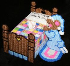 Prayer Bear Tissue Box Cover made from plastic canvas