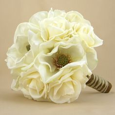 Rustic Bridal Bouquet Real Touch Roses Magnolias White Cream Ivory Wedding Flowers.