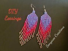 Best Seed Bead Jewelry 2017 Native American Style Earrings Very clear Tutorial for BeginnersHow to Make Brick Stitch and Fringe Beaded EarringsHere is a guide on how to make these supertrendy earrings, using glass beads. Diy Seed Bead Earrings, Beaded Earrings Patterns, Seed Bead Patterns, Seed Bead Jewelry, Beading Patterns, Bracelet Patterns, Seed Beads, Aztec Earrings, Beaded Necklace