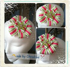 Watermelon Stripes   Hair Bow and Headband by south4winter on Etsy, $12.00