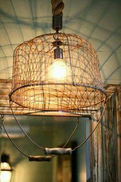 Wire basket light covers. Very rustic