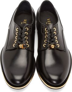 Versace Black Leather Croc Paneled Derby Shoes
