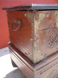 Spanish Antique Carved Trunk Treasure Chest Pirate's Chest