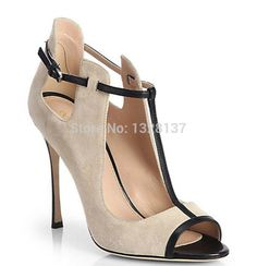 98.99$  Watch here - http://alitr4.worldwells.pw/go.php?t=32724138183 - New Arrival US14 Ladies Peep Toe Buckle Suede Pumps Thin High Heel Shoes Woman 2015 sapatos femininos salto alto chaussure femme