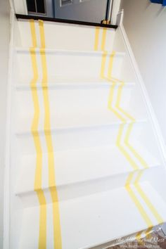 INCREDIBLE stair makeover with PAINT! SO much cheaper than stain or new stairs! If you can hold a paintbrush, you can easily learn how to paint stairs! Rustic Staircase, Staircase Design, Staircase Ideas, Hallway Ideas, Basement Ideas, Stairs Painted White, Cleaning Paint Brushes, Painted Staircases, Traditional Staircase