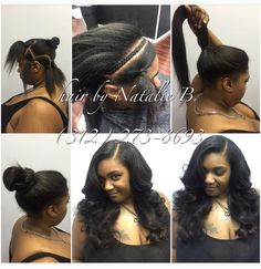 Ladies, your sew-in should look this natural, and offer this level of versatility! If it doesn't, come see ME! I am Natalie B., and I specialize in creating the most natural-looking sew-in hair weaves! To schedule your appointment, please contact me at (312) 273-8693. Order hair online at www.naturalgirlhair.com. ---IG: @iamhairbynatalieb FB: Hair by Natalie B.