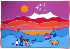 I just love Ted Harrison's paintings and the Yukon. Ted Harrison Project and PPT Presentation Inuit Kunst, Arte Inuit, Inuit Art, Middle School Art, Art School, School Stuff, High School, Programme D'art, Arte Elemental