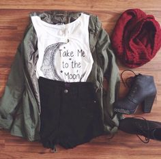 Grunge outfit idea nº2: Green canvass jacket, ripped jean shorts, white Singlet-T, crimson scarf, and lace-up heel boots - http://ninjacosmico.com/23-awesome-grunge-outfits/