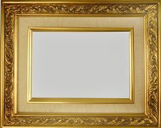 """Beautiful Picture Frame! Perfect For Artwork, Photographs, Canvas Paintings, Oil Paintings, Watercolor Paintings, Acrylic Paintings, Portraits, Wedding Pictures, Diplomas, Family Photographs & More. Classic Gold Swirl Linen Liner 2.25"""" Wide Picture Frame"""