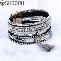 Multilayer Leather Bracelets For Women 2016 rhinestone crystal Bracelets Tassel magnetic Bracelets& Bangles  Bohemian