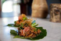 Miang Kham with School Prawns (Betel Leaf Wraps) - Tonic & Soul Vietnamese Recipes, Thai Recipes, Prawn, Summer Recipes, Street Food, Allrecipes, Gluten Free Recipes, Good Food, Leaves