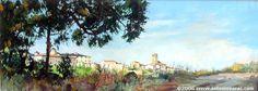 BÉJAR. VERANO (Salamanca) - Antonio Varas de la Rosa - Óleo, tabla 22x60 cm.
