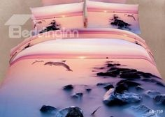 New Arrival Sunset Dolphin and Reef  Print 3D Bedding Sets on sale, Buy Retail Price Animal Print Bedding Sets at Beddinginn.com