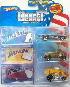 Hot Wheels Connect Cars Rhode Island, Oregon, Wisconsin by Hot Wheels. $25.00. You Can Connect,Play or Display Them; Hot Wheels Cars Connect Collectible Series 3 pack. Rhode Island ~ 67 Pontaic GTO , Oregon ~ 33 Ford, and Wisconsin ~ Cool One.